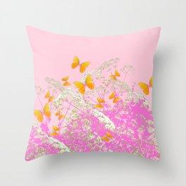 GOLDEN BUTTERFLIES IN PINK LACE GARDEN Throw Pillow