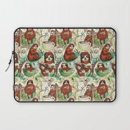 sloth in coffee pattern Laptop Sleeve