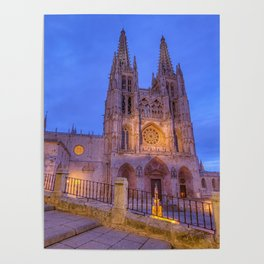 Night view of Burgos Cathedral in Spain. Poster