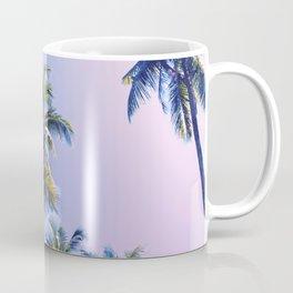 Pink Blue Tropical Island Sunset Landscape with Palm Trees Coffee Mug