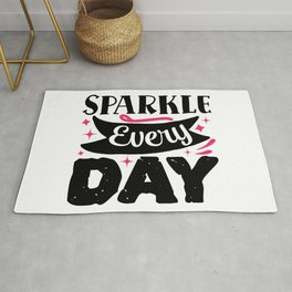 Sparkle Every Day Pretty Beauty Makeup Quote Rug