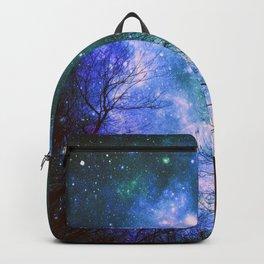 Black Trees Violet Green Space Backpack