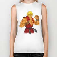 street fighter Biker Tanks featuring Ken Street Fighter by jasonarts