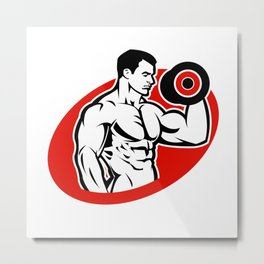 man fitness logo Metal Print