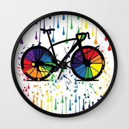 Rainbow raindrops Wall Clock