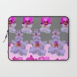PURPLE  FUCHSIA ORCHIDS  SPRINKLES ON  GREY-PINK ART Laptop Sleeve