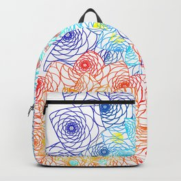 Bright Floral Orange and Blue Doily Lace Spring Digital Illustration Backpack