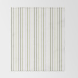 Spanish Moss Green Pinstripe on White Throw Blanket