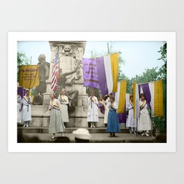 Lafayette, We Are Here! Suffragists protest across from the White House in 1918 Art Print