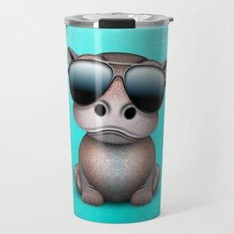 Cute Baby Hippo Wearing Sunglasses Travel Mug
