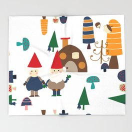 Gnome white Throw Blanket