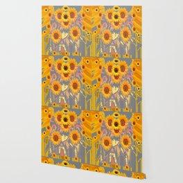 MODERN ART YELLOW SUNFLOWERS  GREY ABSTRACT Wallpaper