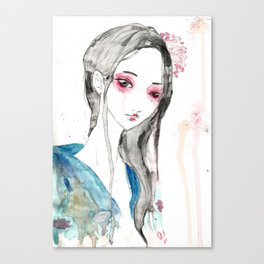 La Fille aux Cercles Rouges Canvas Print