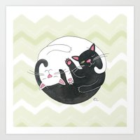 philosophy Art Prints featuring Cat Philosophy by Emily Andrus Lopuch
