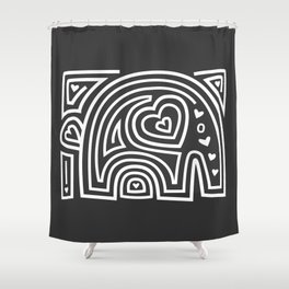 Mola Elephant (Black and White) Shower Curtain