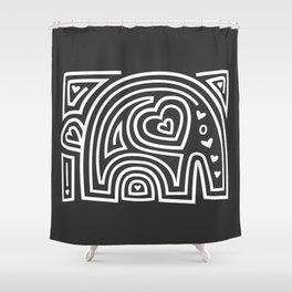 Mola Elephant (Black and White) Shower Curtain