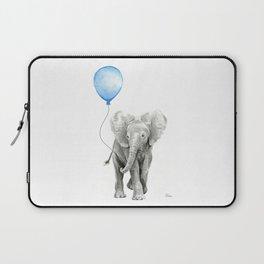 Baby Animal Elephant Watercolor Blue Balloon Baby Boy Nursery Room Decor Laptop Sleeve