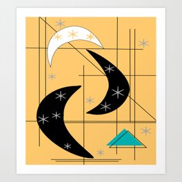 Mid-Century Boomerangs Yellow Art Print