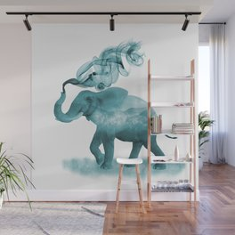 Turquoise Smoky Clouded Elephant Wall Mural