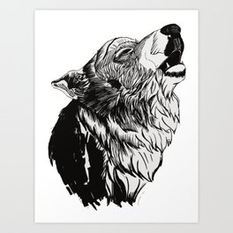 Graphic Wolf Art Print