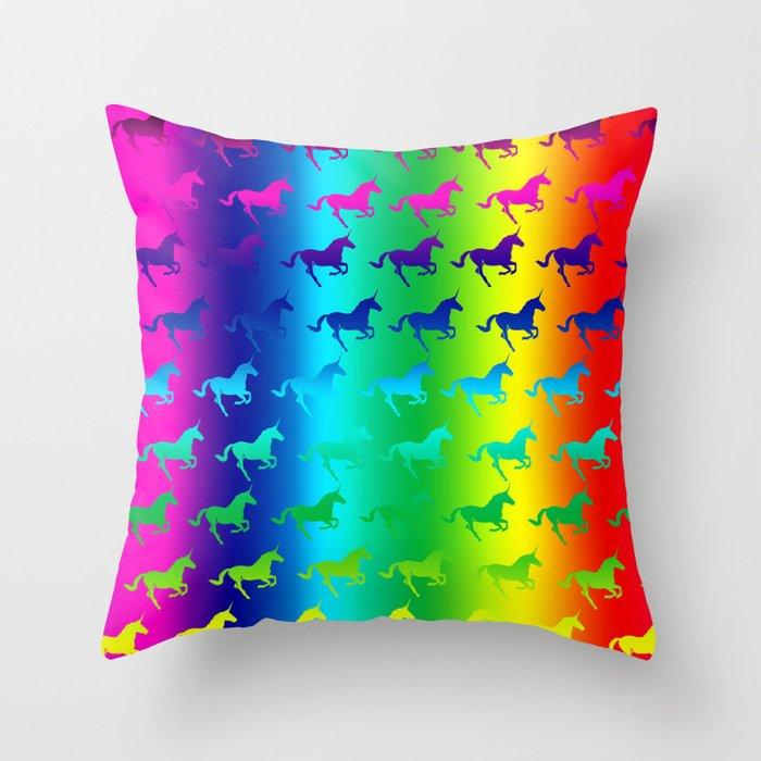 Psychedelic Unicorn Pattern Throw Pillow