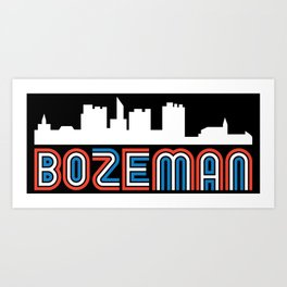 Red White Blue Bozeman Montana Skyline Art Print