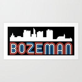 Red White Blue Bozeman Montana Skyline Art Print