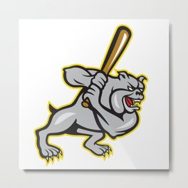 Bulldog Dog Baseball Hitter Batting Cartoon Metal Print