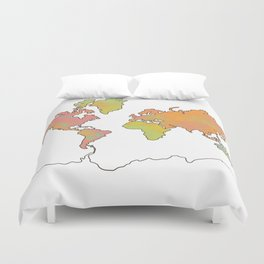 Contour Map of the World Duvet Cover