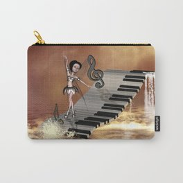 Cute girl dancing on a piano on the beach Carry-All Pouch