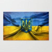 ukraine Canvas Prints featuring Ukraine Flag by iCherya