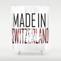 switzerland Shower Curtains featuring Made In Switzerland by VirgoSpice