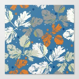 Sprigs and polka dots on blue Canvas Print