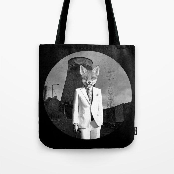 The White Fox is going to town Tote Bag