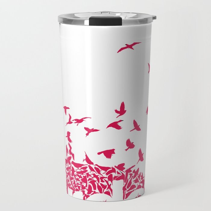 The birds / Red on white Travel Mug