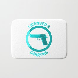 Licensed and carrying my pistol since 1978 Bath Mat