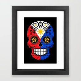 Sugar Skull with Roses and Flag of Philippines Framed Art Print