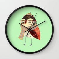 owl Wall Clocks featuring  Owl by Ashley Percival illustration
