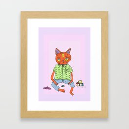 Cat On the Tracks  Framed Art Print