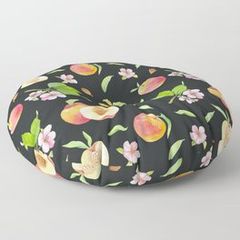 Peach fruit watercolor - Hand drawn ripe fruits Floor Pillow