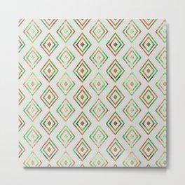 Abstract geometrical brown lime green ethno diamonds pattern Metal Print