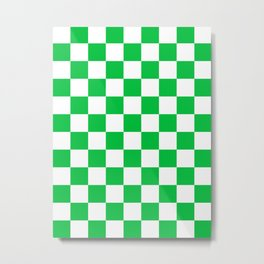 Checkered - White and Dark Pastel Green Metal Print