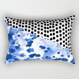 Monroe - India ink, indigo, dots, spots, print pattern, surface design Rectangular Pillow