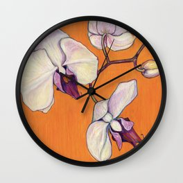 Orchid on Orange Wall Clock