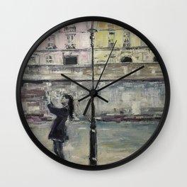 City Landscape selfie Print Original Oil Painting on Canvas Wall Clock