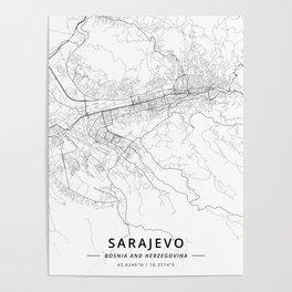 Sarajevo, Bosnia and Herzegovina - Light Map Poster