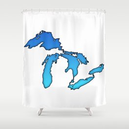 Great Lakes in Blue Shower Curtain