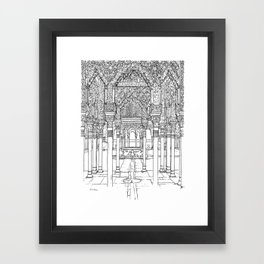 Alhambra palace, Granada, Andalucia - Spain-Black & White Framed Art Print