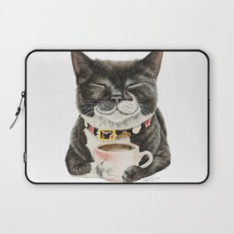 Purrfect Morning , cat with her coffee cup Laptop Sleeve