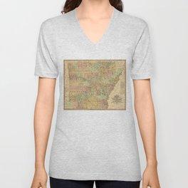 Vintage Map of Arkansas (1839) Unisex V-Neck